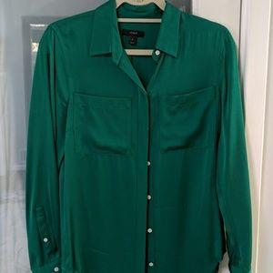 Emerald green silk button up top